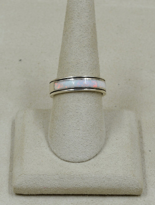 White American Lab Opal & Sterling Silver 8x Ring by GL Miller Studio