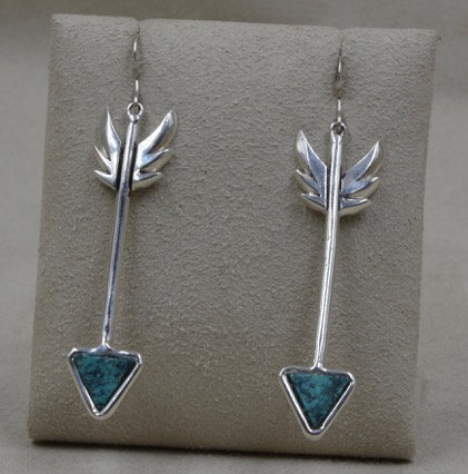 Sterling Silver Turquoise Arrows by Michael & Melanie Lente