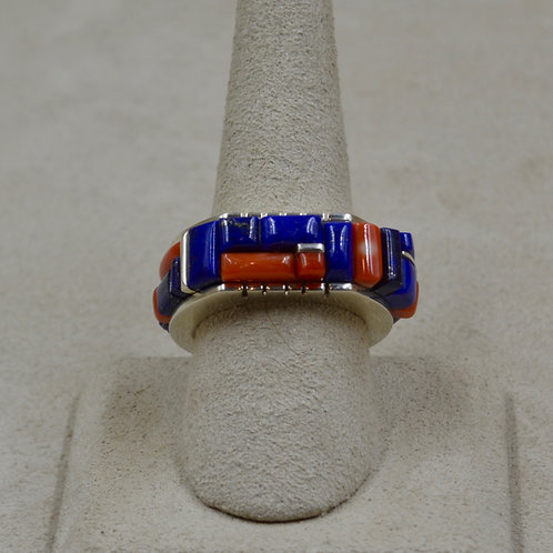 Sterling Silver, Cobble Multi-Stone Inlay 8x Ring by Sean Benally