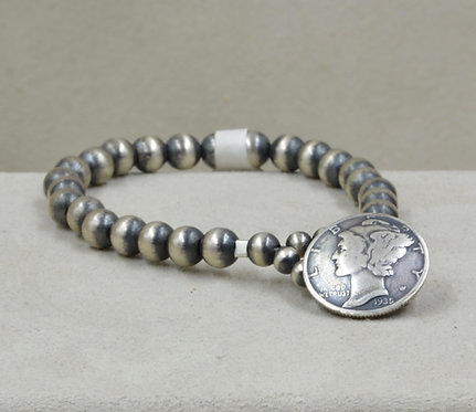 Sterling Silver Oxidized 6mm Dime Closure Coin Bracelet by Maggie Moser