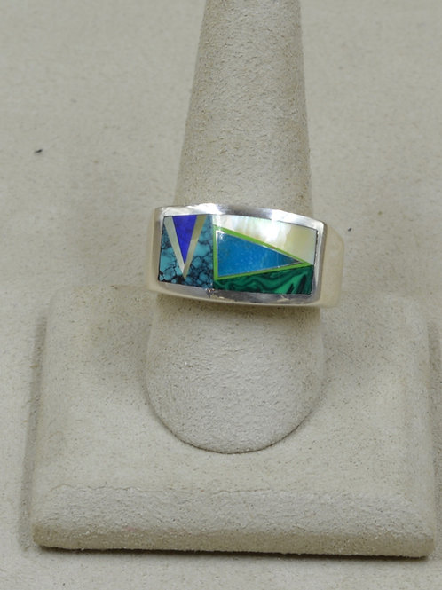 Mother of Pearl, Lapis, Blue Turquoise, & S. Silver 11x Ring by GL Studio