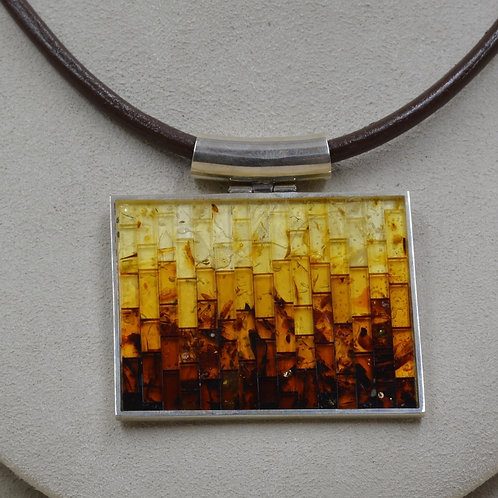 Large Mosaic Brown Amber & S. Silver w/ Large Bale by MTM Silver