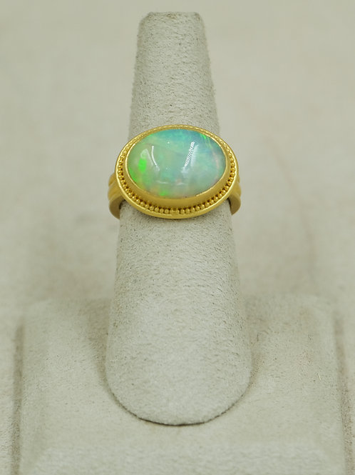 22k Gold Granulation w/ Welo Opal 5.67 Carats 6.75x Ring by Pamela Farland