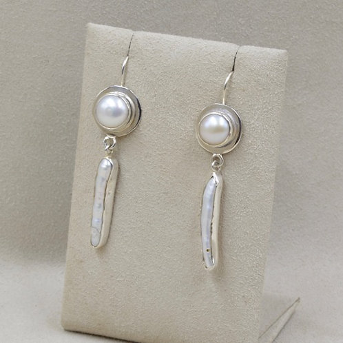 Freshwater Pearl Button Earrings by Richard Lindsay
