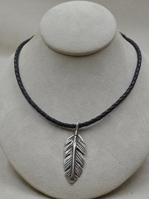 Sterling Silver Ingot Feather on Leather Cord Necklace by Buffalo