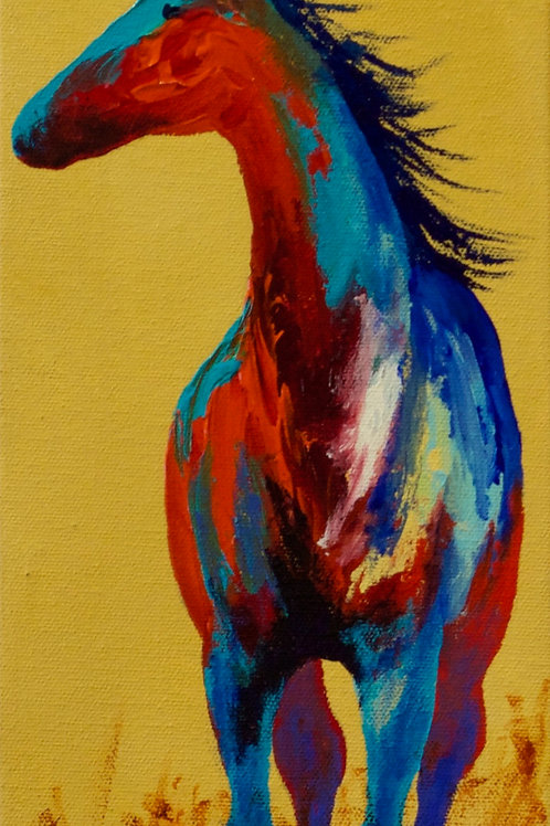 "'Long Look' - Acrylic on Canvas - 15"" x 6"" - by John Saunders"