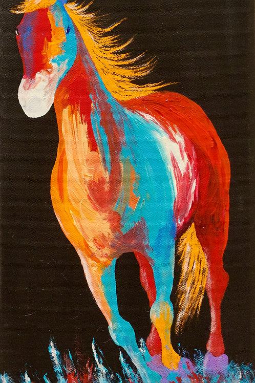 "'Sage Brush Run' - Acrylic on Canvas - 18"" x 9"" - by John Saunders"