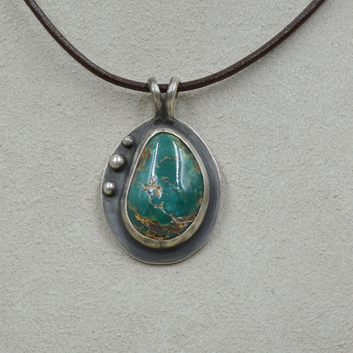 Natural Fox Turquoise w/ 3 SS Shots Pendant by Joe Glover