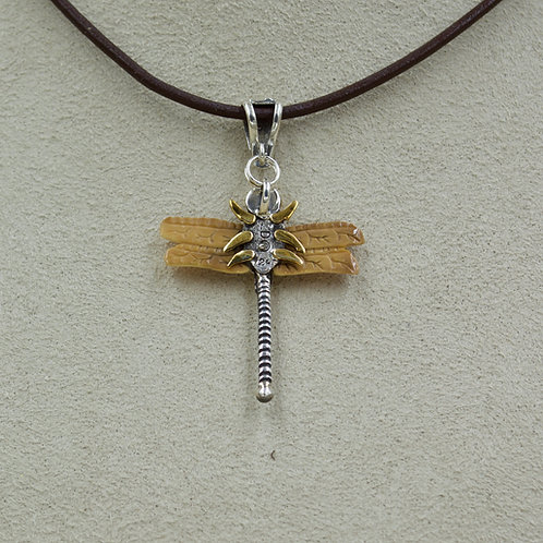 14k Gold Flake, S. Silver, Fossilized Walrus Tusk Dragonfly Pendant by Zealandia