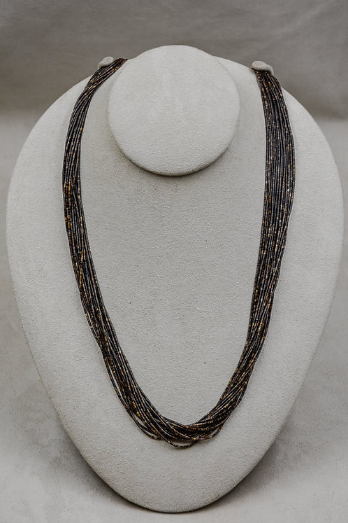 Vintage Olive Shell 1mm Heishi 17 Strand Necklace
