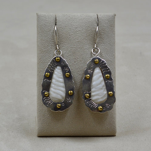 "Carved Marble & Brass ""White Sands"" Wire Earrings by Robert Mac Eustace Jones"