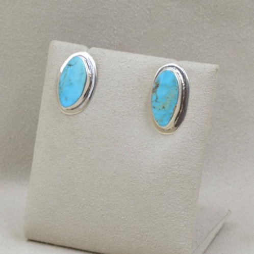 Turquoise Oval Post Earrings by Richard Lindsay