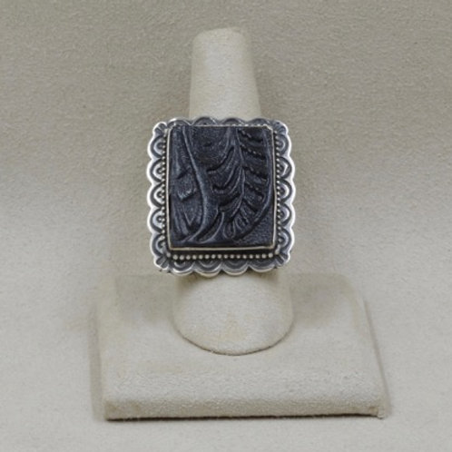 Sterling Silver Leather Rectangular Adjustable Ring by Shoofly 505