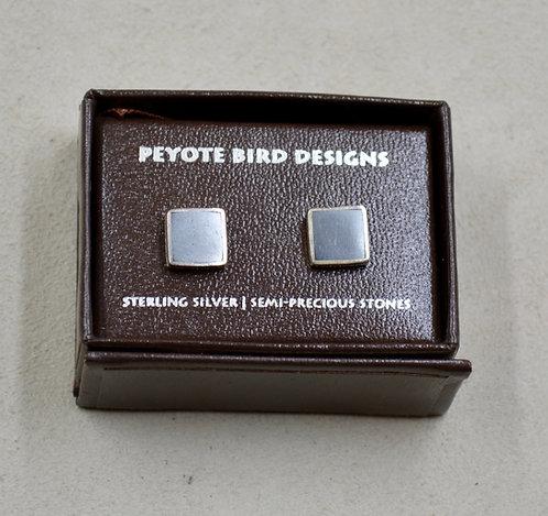 Flat Hematite Post Earrings by Peyote Bird Designs