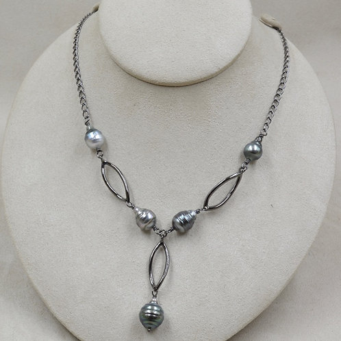 Tahiti Mystic Pearl Necklace on S. Silver, Rhodium Plated Chain by US Pearl Co.