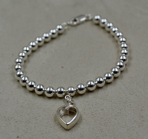 S. Silver Beads w/ SS Infinite Love Charm Bracelet by Sippecan Designs
