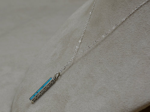Light Blue Turquoise & S. Silver Petite Dancing Stick on Chain by Lent
