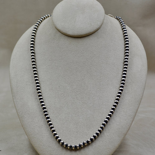 "Navajo Pearls Oxidized Sterling Silver 6mm 26"" Necklace"
