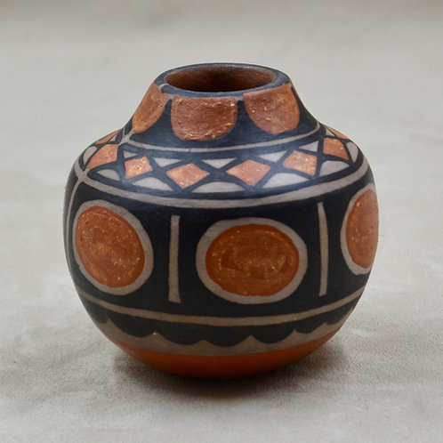 "Scalloped Jar, Hand Built & Painted 3 3/8"" x 3 1/2""D by Robert Tenorio"