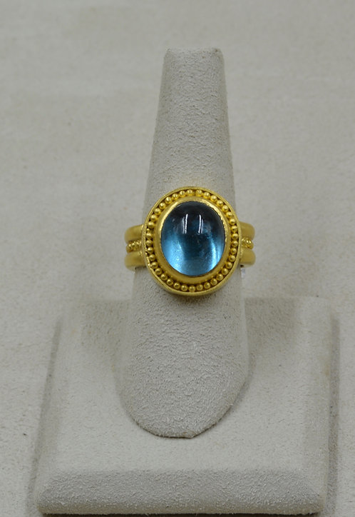 22k Gold, Granulated, London Blue Topaz 11.80Cts 8.25x Ring by Pamela Farland