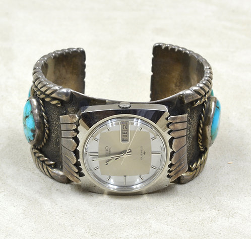 Vintage 50's/60's SS. Natural Fox Turquoise, Seiko Watch Head Watchband