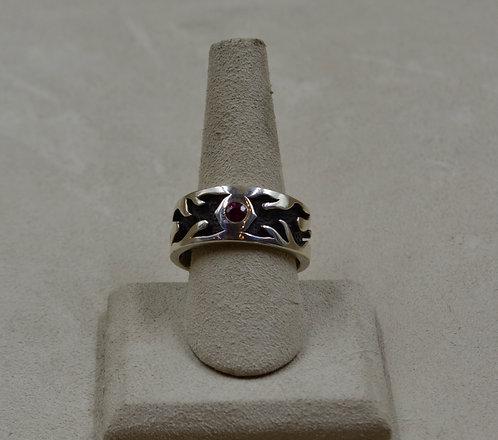 Sterling Silver Flame w/ Burmese Ruby 11.75x Ring by JL McKinney