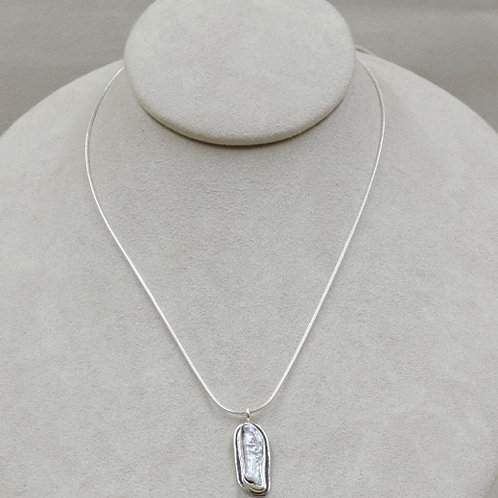 Biwa Freshwater Pearl Pendant on Sterling Silver Chain by Richard Lindsay
