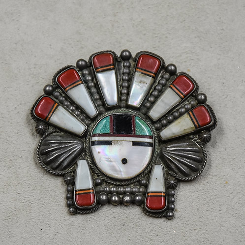 Vintage 50's Zuni Sunface Inlay Multi-Stoned Pin from Dean Stockwell Collection
