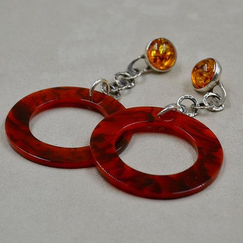 Acrylic Hoops w/ Amber Earrings by Melanie DeLuca