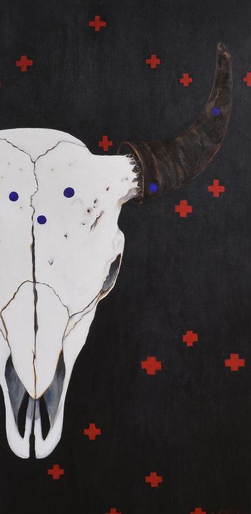 """Thunderskull"" Acrylic on Canvas - 48"" X 24"" by Carlo Martinez"