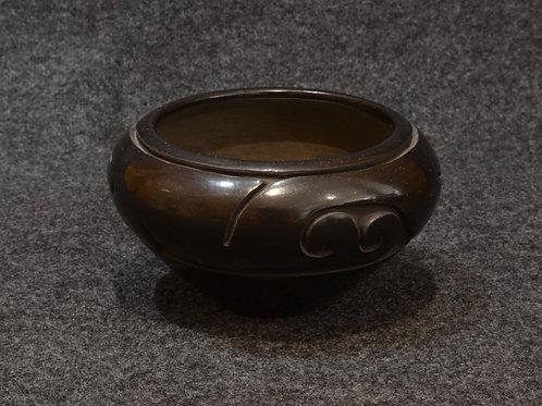Black carved geometric pot by Cecelia Tafoya - Santa Clara Pueblo