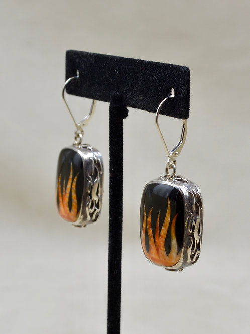 Flame Earrings w/ S. Silver w/ Black Jade, Spiny Oyster by GL Miller