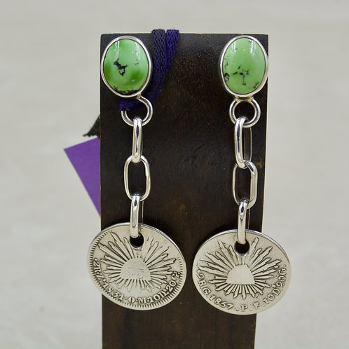 S. Silver Mexican Coins, Green Turquoise, Silver Post Earrings by Melanie DeLuca