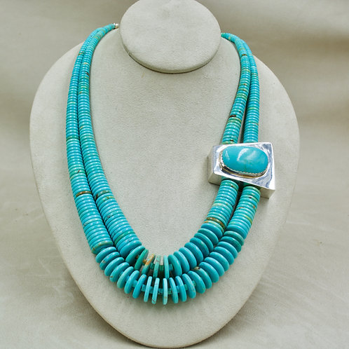Kingman Turquoise Cabochon on Graduated Double Strand Necklace by Jimmy Calabaza