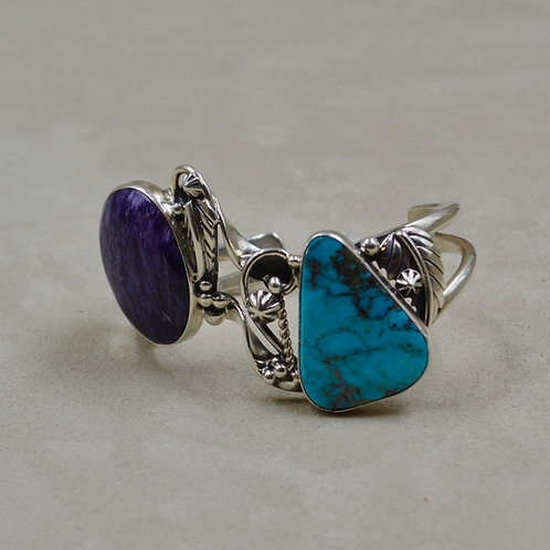 Natural Kingman Turquoise, Charoite, Hand-forged S. Silver Cuff by Cheryl Arviso