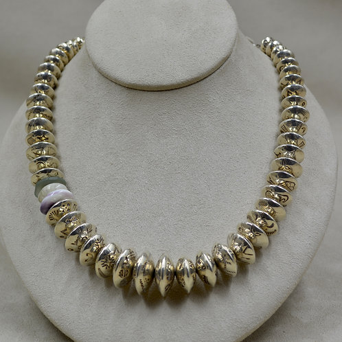 S. Silver 22 Gauge Handmade Beads w/ Seaglass, Quartz, Wampum Necklace by Tchin