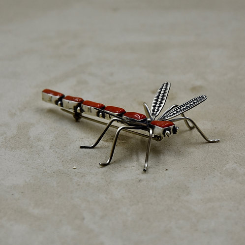 6 Stone Medium Coral on Sterling Silver Dragonfly Pin by Herbert Ration
