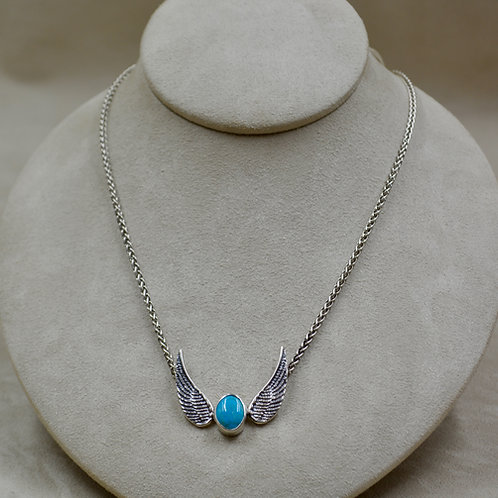 """Turquoise and Sterling Silver Wings Necklace on 18"""" Chain by Michele McMillan"""
