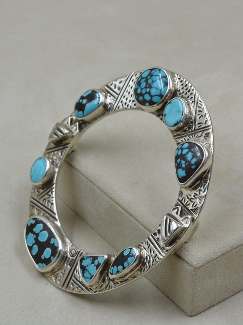 Oval S. Silver Stamped Bangle w/ Natural American Turquoise by Melanie DeLuca