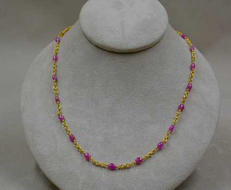 22k Gold and Pink Sapphire Necklace by Pamela Farland