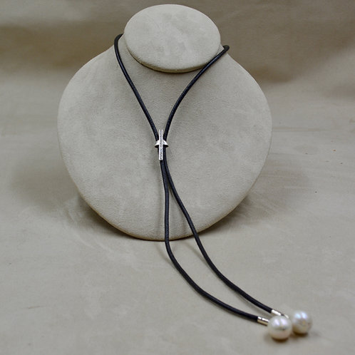 Lab Diamond, Pearl & Black Leather Bolo Necklace by Reba Engel