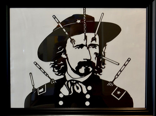 "'Custer on White' Papercut Framed - 21"" x 27"" by Valerie Rangel"