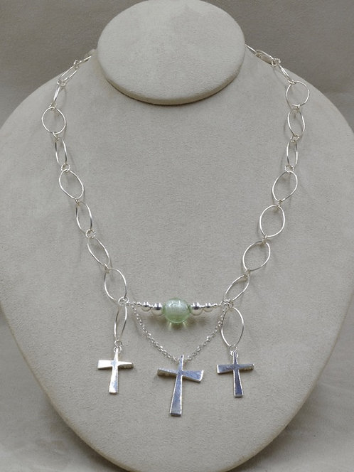 S. Silver Sacred Trinity w/ 3 Crosses, 1 Glass Bead Necklace by Charles Sherman