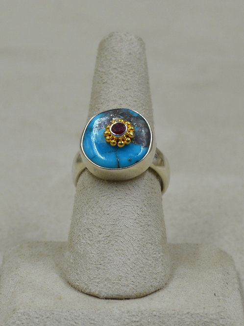 Kingman Turquoise, Ruby, Gold Plated 7x Ring by Roulette 18