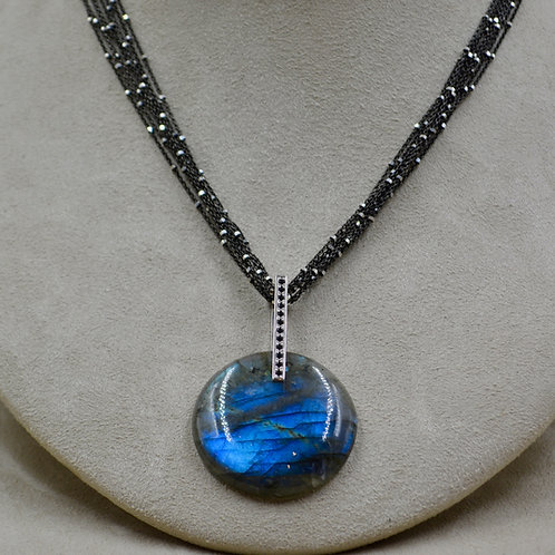 Labradorite, Black Spinel, London Blue Topaz Pendant by Reba Engel