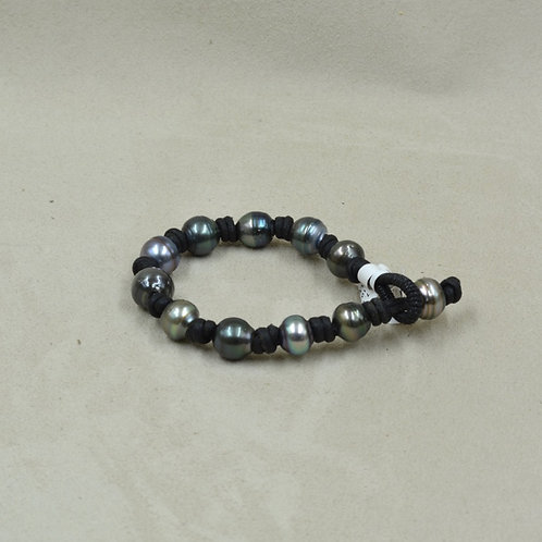 South Sea Tahitian Pearl & Black Leather Bracelet by US Pearl Co.