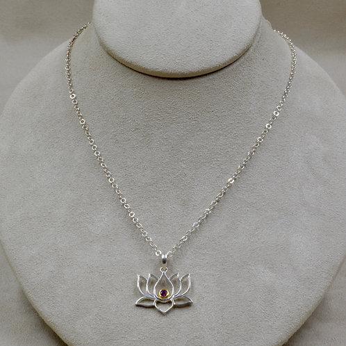 Open Lotus w/ Rhodolite Garnet Pendant on Chain by Roulette 18