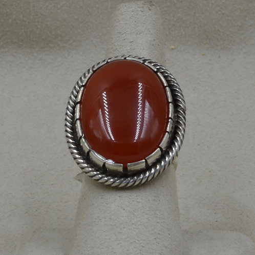 Sterling Silver Red Aventurine w/ Twist 7.5X Ring