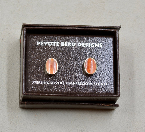 Wave Oval Spiny Oyster Post Earrings by Peyote Bird Designs