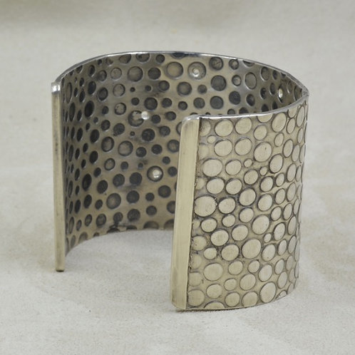 18k Gold, White Sapphires & Sterling Silver Cuff by Michele McMillan